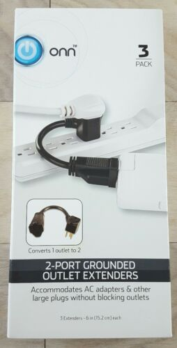 ONN 2 Port Grounded Outlet Extenders Cable Extension Spacers Splitter 3 Pack
