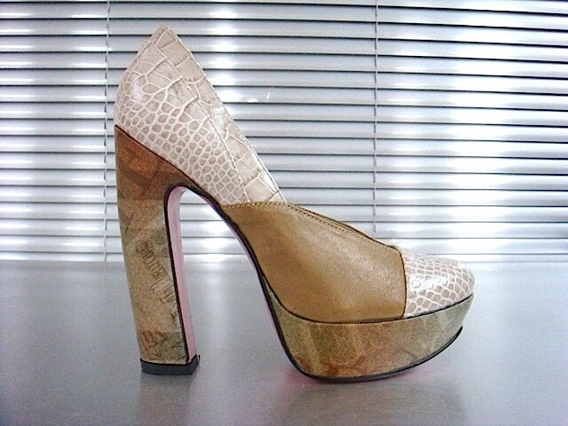Mori  Platform High Heel Pumps Schuhe schuhe Python Leather Beige Nude 37