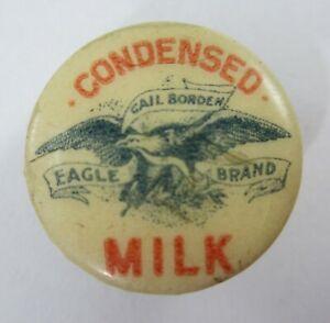 Vintage Borden's Dairy Condensed Milk Celluloid Advertising Lapel Button 1890s