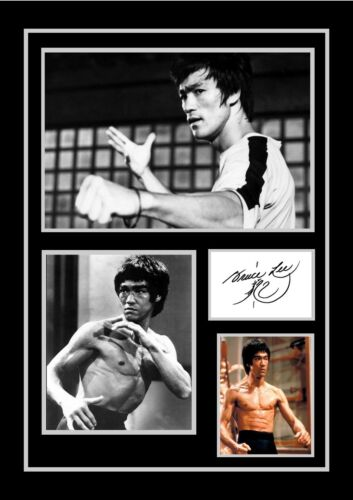 AUTOGRAPHED PRINT STUNNING QUALITY BRUCE LEE SIGNED