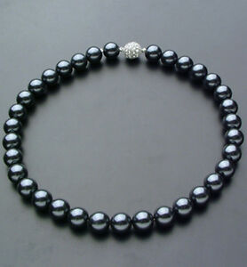 10mm-Black-South-Sea-Shell-Pearl-Necklace-18-Crystal-magnet-clasp