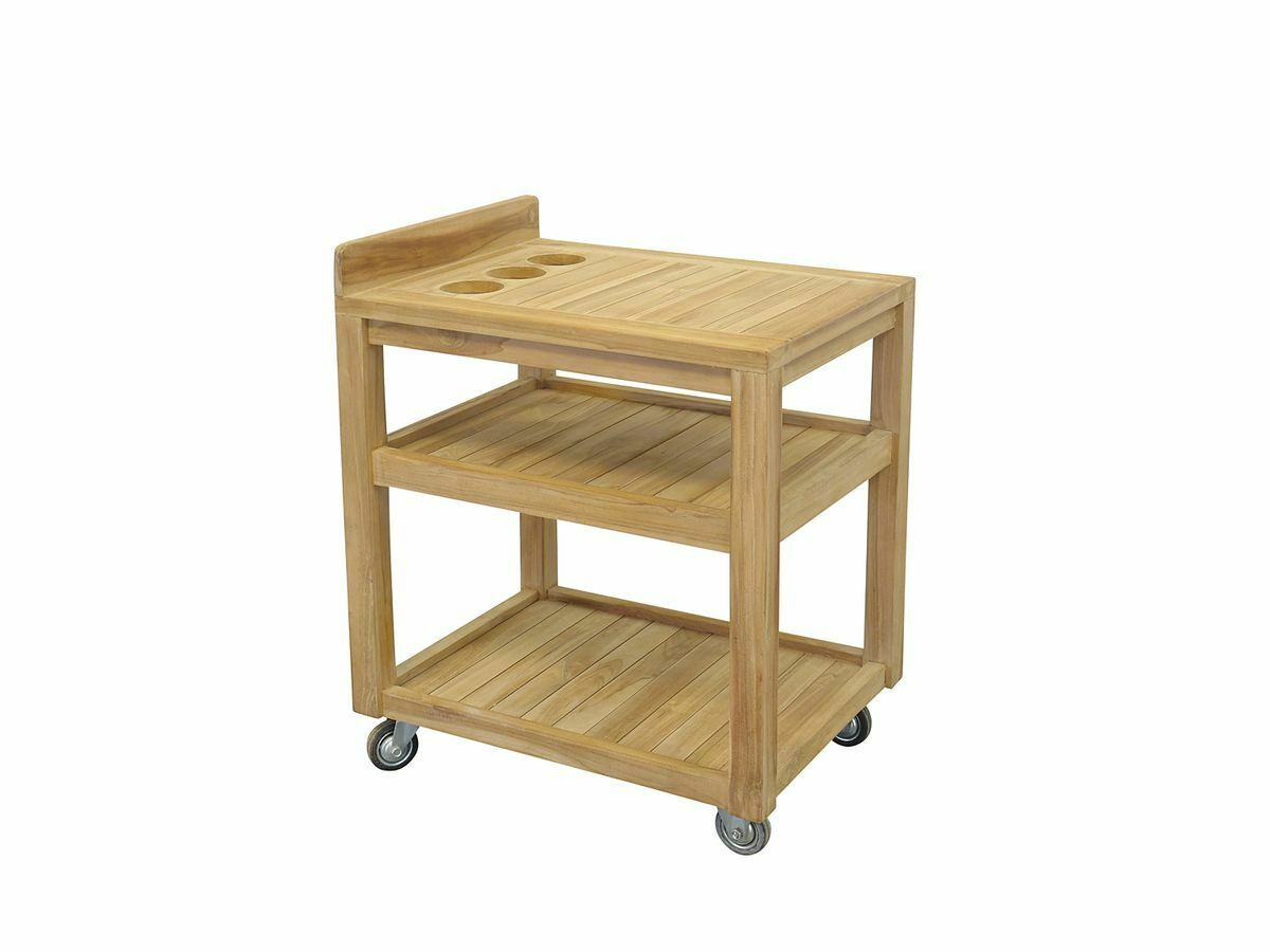 Trolley Kitchen Trolley Side Table with Castors Solid Teak Wood Natural (2745)