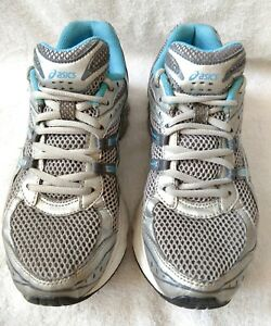 WOMEN'S ASICS GEL-TURBULENT CROSS TRAINING ATHLETIC SHOES SIZE 7.5 SILVER GUC