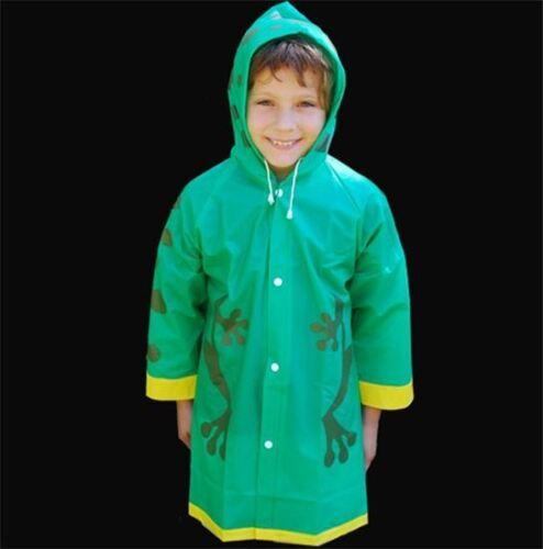 NEW Children/'s Child/'s Kid/'s Green Waterproof Plastic FROG RAINCOAT Rain Coat