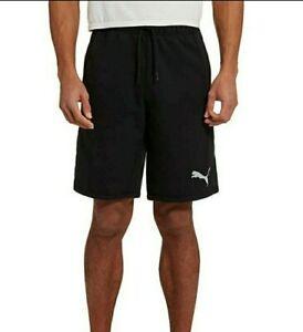 Logo Puma Para Hombres Frances Terry Pantalones Cortos Negro Ebay