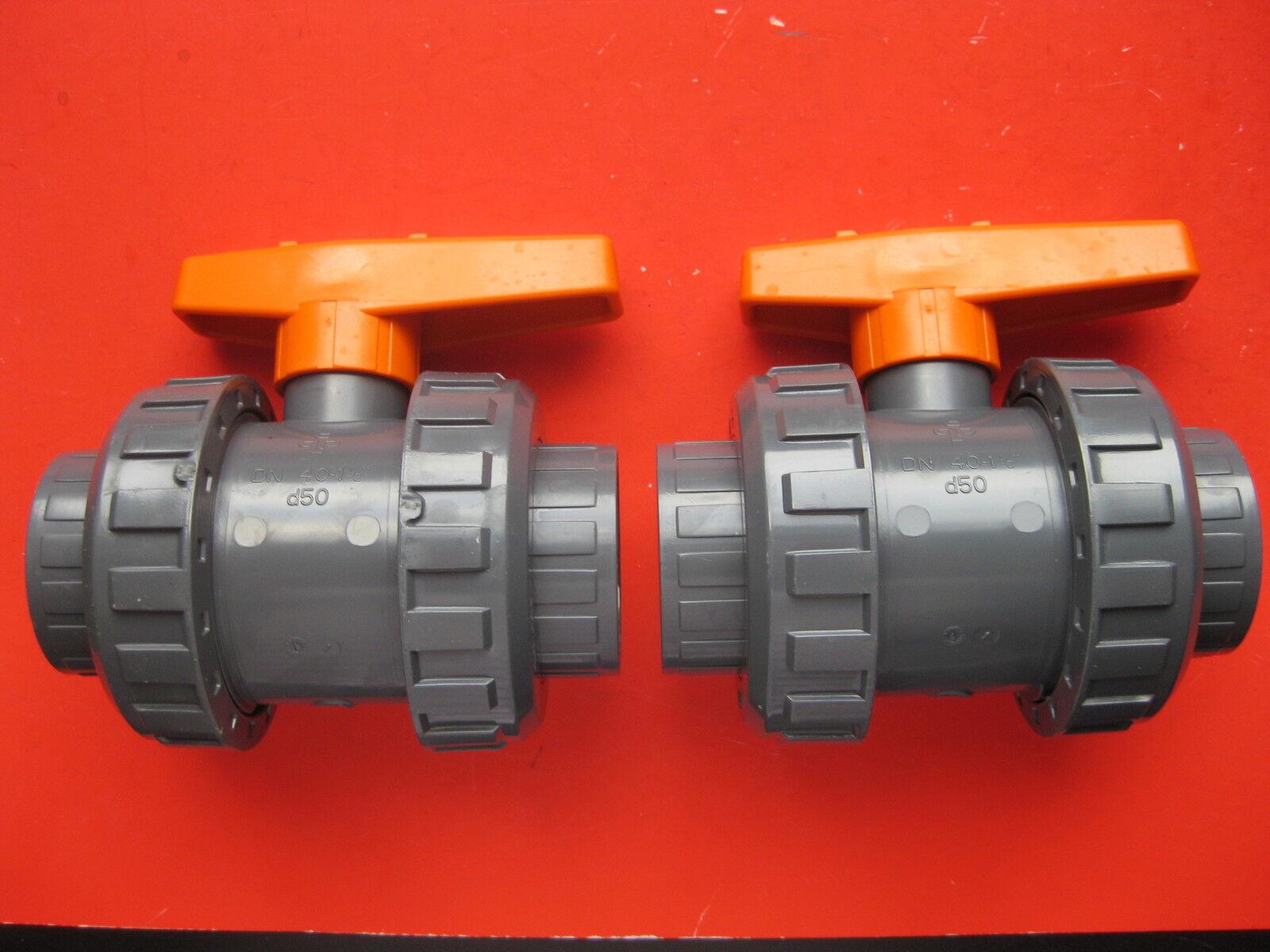 2 x Kugelhahn 2-Wege S6 PVC d 50 mm DN 40 Ventil Pool Hahn Praher 125462