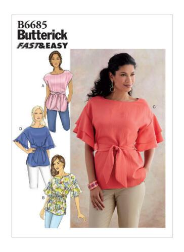 Butterick 6685 patrón de costura para hacer rápido y muy fácil Jersey Tops
