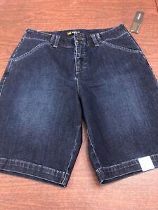 NEW-Lee-Bermuda-Dark-Wash-Jean-Shorts-Regular-Fit-Stretch-Mid-Rise-Size-6m