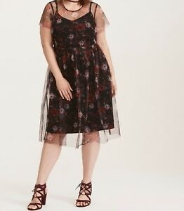 cd85ce3858a Image is loading Torrid-Multi-Color-Floral-Print-Mesh-Skater-Dress-