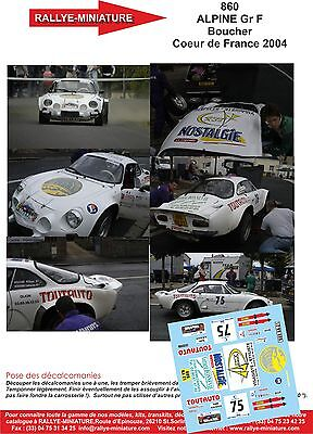 DECALS 1//43 REF 640 ALPINE RENAULT A110 BOSSELUT TOUR AUTO DE FRANCE 1975 RALLYE