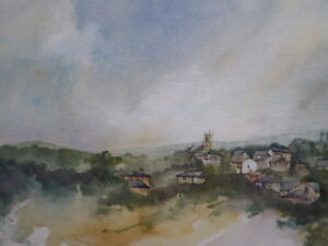 WATERCOLOUR-VILLAGE-IN-THE-HILLS-ARTIST-ROBERT-CLAY-FREE-SHIPPING-ENGLAND