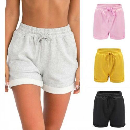 Women Loose Cotton Elastic Waist Sweatpants Shorts Holiday Summer Casual Pants B