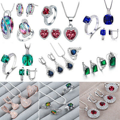 925 Sterling Silver Crystal Zircon Ring Necklace Bride Wedding Party Jewelry Set