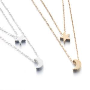 Silver gold plated brushed crescent moon star necklace pendant in la imagen se est cargando plata oro plateado cepillado media luna amp estrella aloadofball Gallery