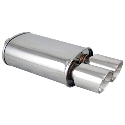 Polished Spun-locked Exhaust Oval Muffler Double Wall Dual Slant Tip for BMW