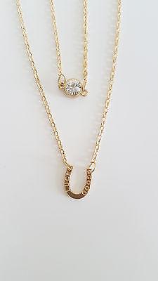 Collar De Zapatos De Caballo Buena Suerte Suerte Oro Efecto Diamante Token Regalo Equitación