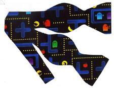 (1) BOW TIE - CHOMP! CHOMP! CLASSIC PAC MAN VIDEO GAME ON BLACK
