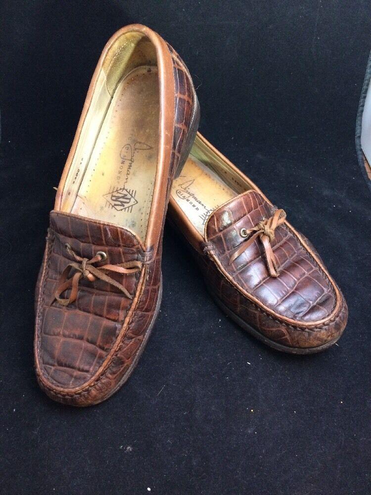 Martin Dingman Crocodile Grain Leather Brown Loafers Mens Sz 8 M