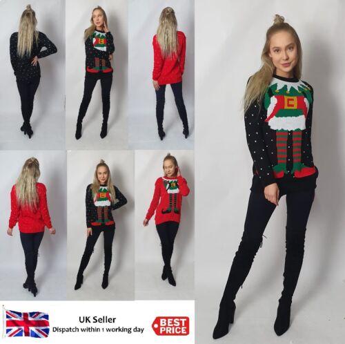 New Christmas Jumper Unisex Womens Snowflake Knitted Novelty Elf Body Sweater UK
