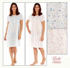 Ladies Womens Short Sleeved Nightdress Floral Robe Gown PJ Nightie UK Size 10/24