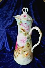 Pouyat Limoges chocolate pot, hand painted and signed by the artist 1900