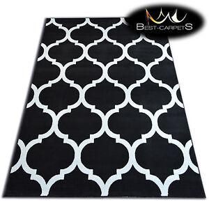 Moderne-Tapis-039-Flash-039-Geometrique-Marocain-Treillage-Noir-Cheap-Decoratif