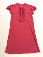 Lands End Girls 8 Salmon Pink Ruffle Front Dress Short Sleeve