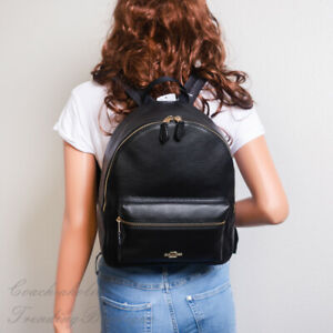 NWT-Coach-F30550-Medium-Charlie-Backpack-in-Refined-Pebble-Leather-Black