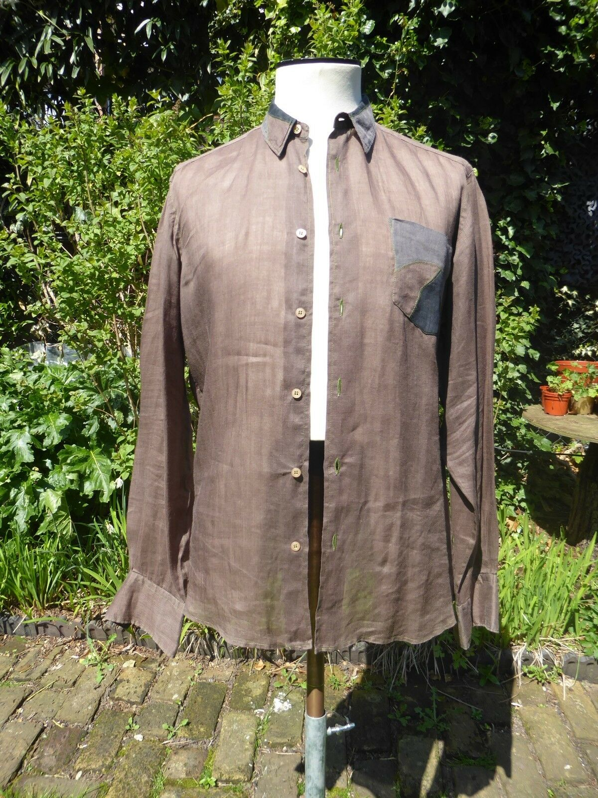 G. GUAGLIANONE 100% Brown Linen Designer Shirt M Excellent Condition