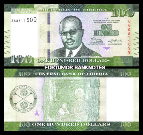 LIBERIA 100 DOLLARS 2016 UNC P NEW DESIGN