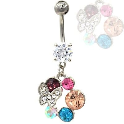 "14g 3//8/"" GEM PAVED CUBED RAINBOW PRISM  DANGLE BELLY RING 316L NAVEL JEWELRY"