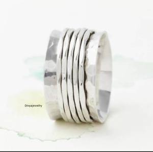 Solid-925-Sterling-Silver-Spinner-Ring-Meditation-Statement-Ring-Size-sr24444