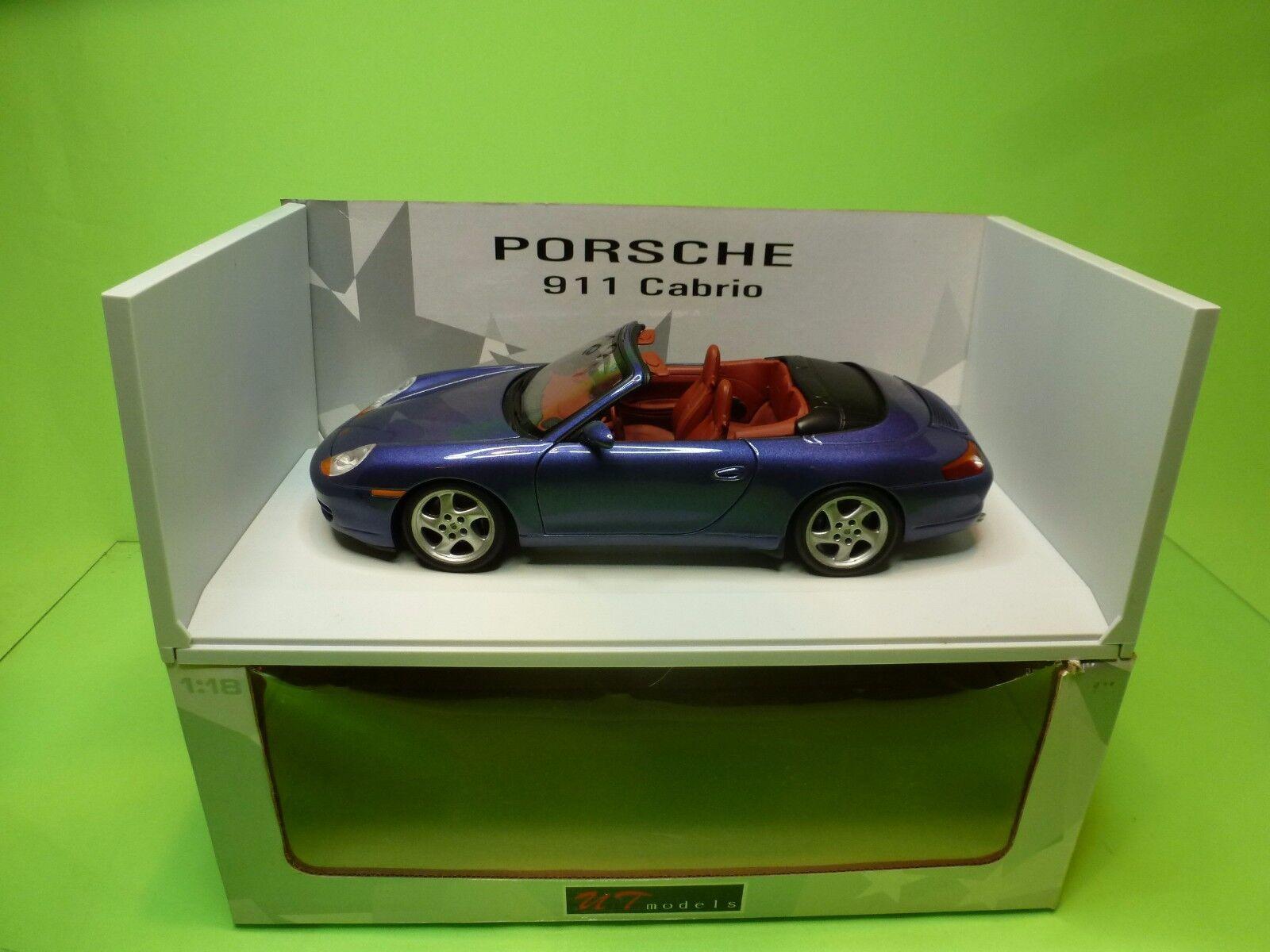 UT MODELS 27907 PORSCHE 911 CABRIOLET - METALLIC blu 1 18 - EXCELLENT IN BOX