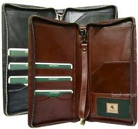 Travel Wallet With Wrist Strap Real Real Leather Black Brown Visconti Mz101
