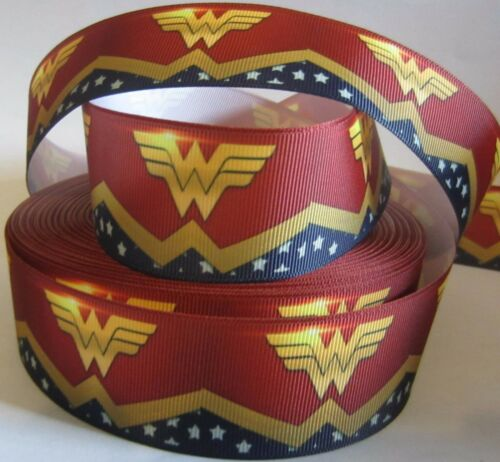 "GROSGRAIN WONDER WOMAN SUPERHERO 1.5/"" INCH GROSGRAIN RIBBON 4 HAIR BOWS CRAFTS"