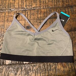6a53d90e18bcc Image is loading WOMENS-NIKE-TRAINING-SPORTS-BRA-GRAY-BLACK-SIZE-