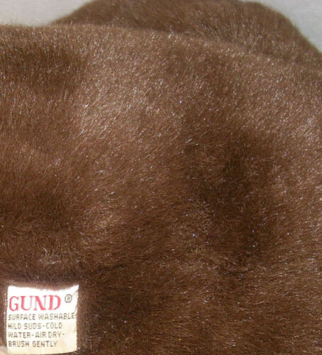 """17/"""" VINTAGE DARK BROWN TEDDY BEAR GUND STUFFED ANIMAL PLUSH TOY RED BOW BIG SOFT"""