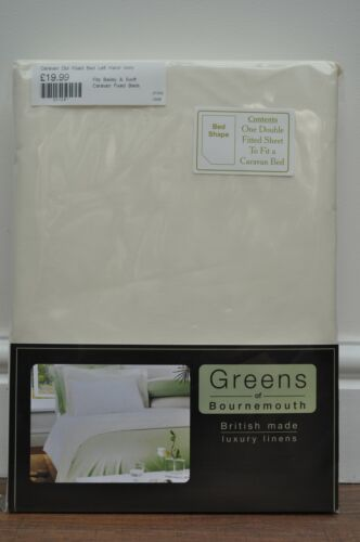 Indiana Caravan Poly//Cotton luxury Percale  Fixed Bed  Fitted Sheet Doubl ivory