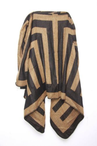 s123 Classy Caramel Brown /& Black Striped Pattern Print Casual Everyday Scarf