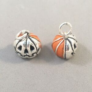 925 Sterling Silver Hook Earrings With Antique Silver Halloween Pumpkin Charms