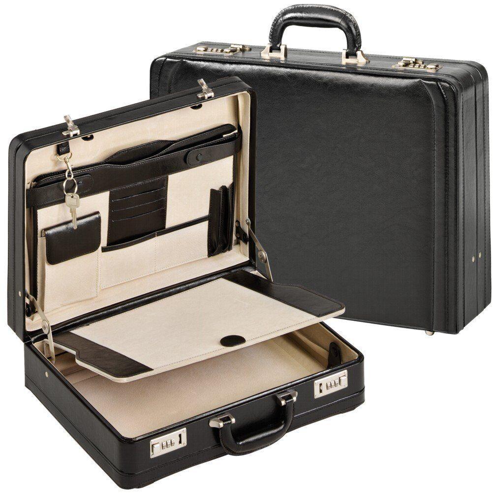 XL Aktenkoffer Attachekoffer Attache Koffer Echt Leder Schwarz Doppel-Dehnfalte | Verkauf Online-Shop  | Glücklicher Startpunkt  | Sorgfältig ausgewählte Materialien