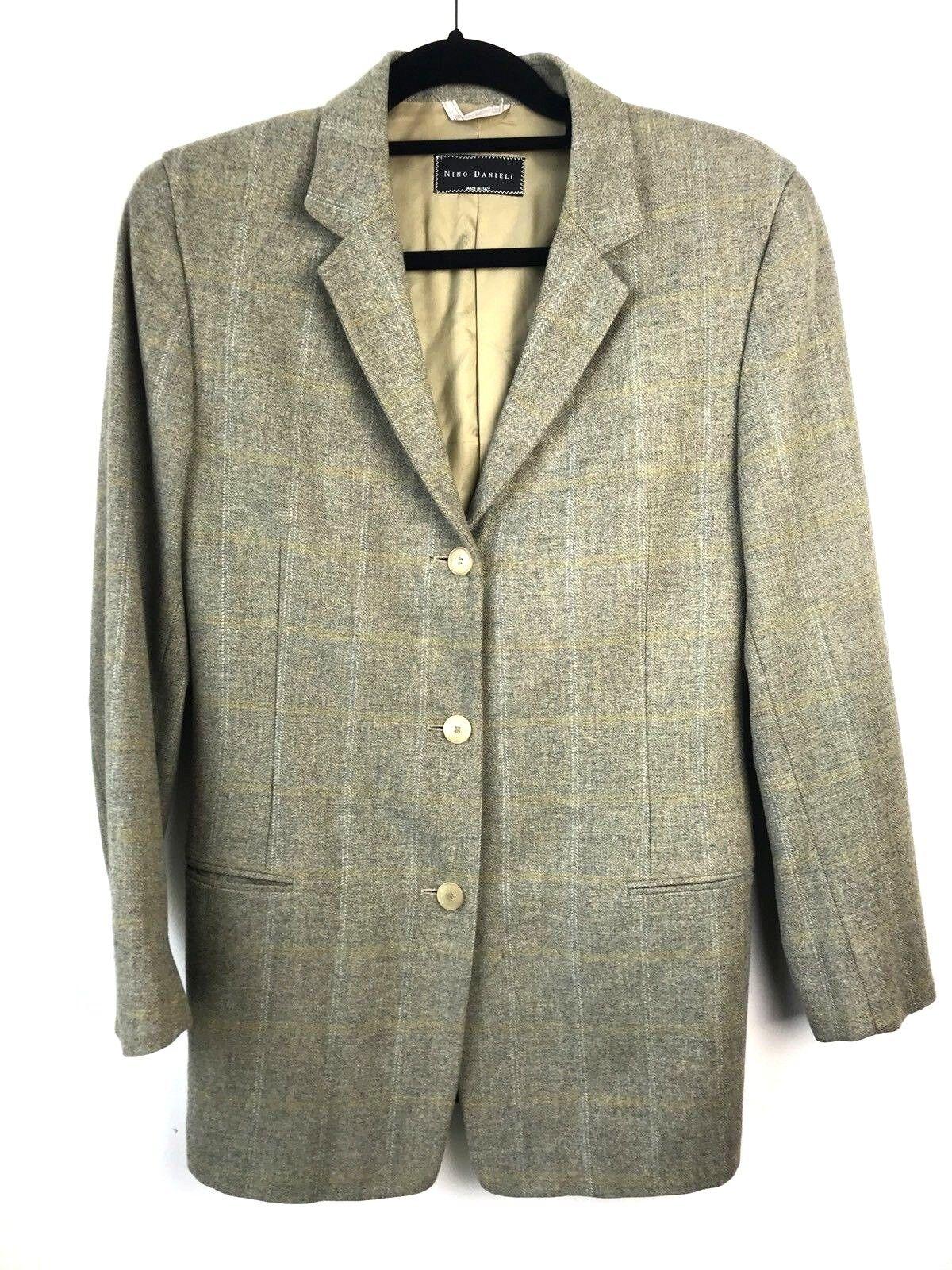 Nino Danieli Größe 44R Grün Plaid Extra Fine 100% Virgin Wool Sports Coat Blazer