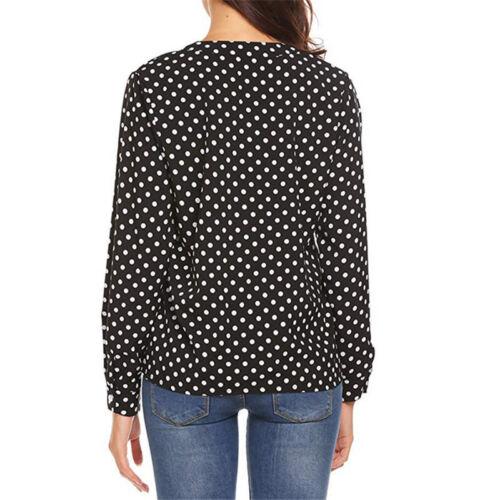 Damen Gepunktet Langarmshirt Bluse V-Ausschnitt Oberteile Freizeit Business Hemd