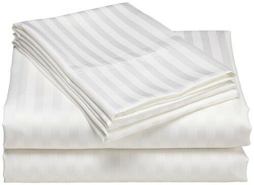 1 Fitted Sheet & 2 Pillow case White Stripe 100% Pima Cotton 1000 TC_
