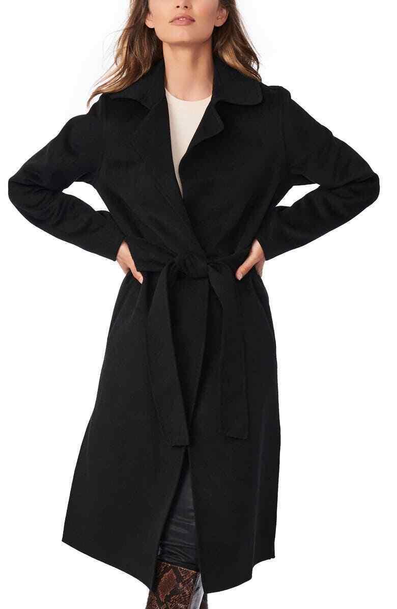 Bernardo Womens Black Long Sleeve Tie Front Collared Long Trench Coat Size M