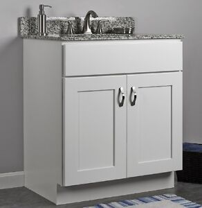 Jsi dover 30 white two door single bathroom vanity - Unfinished shaker bathroom vanity ...