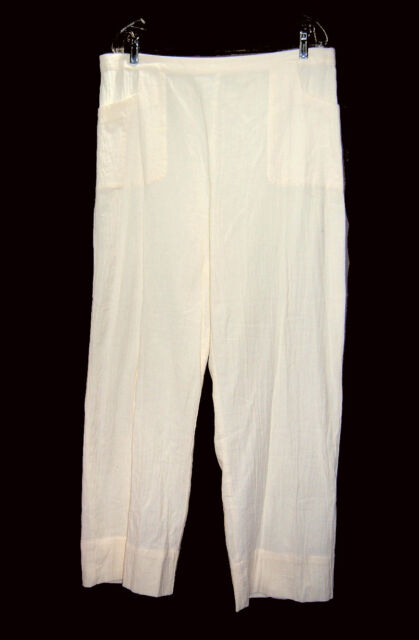 f6272330767 NEW Soft Surroundings Cotton Gauze Pants sz PM New Ivory
