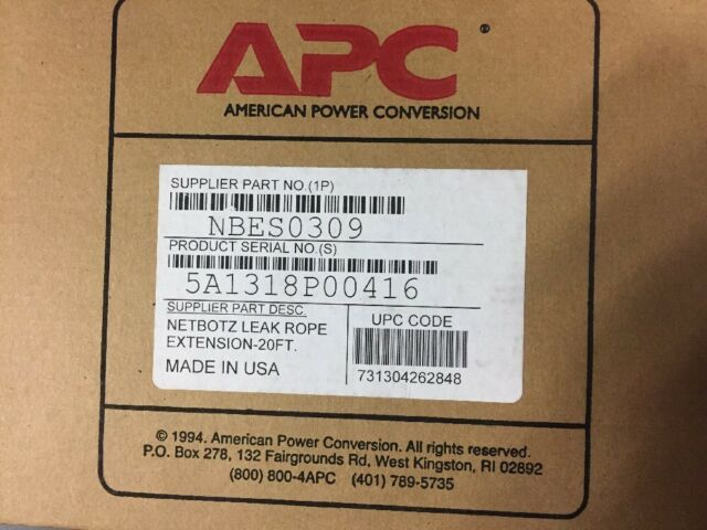 NEW! APC NBES0309 Netbotz Leak Rope Extension 20 Ft.
