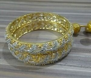 Indian-American-CZ-Bangles-Bracelet-Gold-Plated-Fashion-Wedding-Bridal-Jewellery