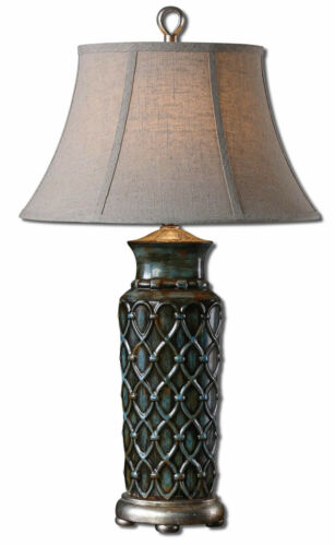 """Valenza Blue//Rust Glazed Ceramic Table Lamp 31/""""H by Uttermost 27455"""